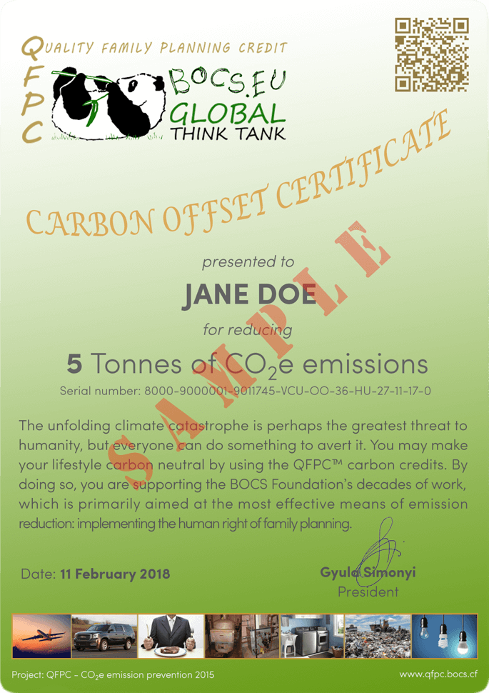 Carbon Offset Certificate Sample | BOCS Foundation
